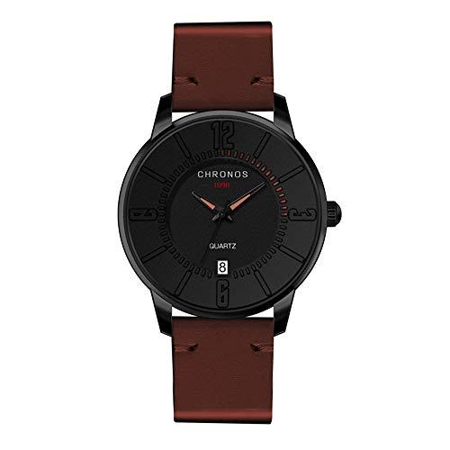 Herrenuhren Ultradünne Arabische Zahlenskala mit Kalender Quarzwerk Armbanduhren für Unisex Lederband Mode, Braun