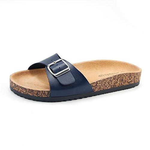 Mit Korkfußbett Damen Blau Pantoletten Sandalup wYvPY