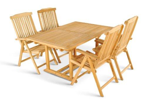 XXS® Möbel Gartenmöbel Set Caracas 5tlg vier praktische Klappstühle Aruba Holz Tisch Kuba ausziehbar mit Schirmloch Oberfläche geschliffen hochwertiges Teak Holz pflegeleicht