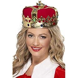 Smiffy's - Corona de Reina, con Joyas, Color Rojo, Tamaño único (21971)