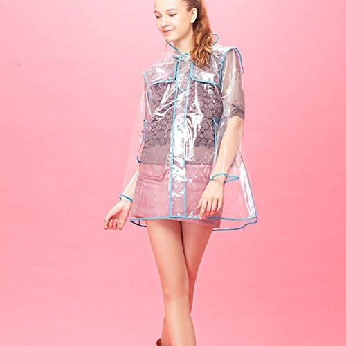 Ducomi® Mademoiselle Mantella Antipioggia Impermeabile Trasparente da Donna con Cappuccio - Sfoggia il tuo Outfit Migliore anche sotto la Pioggia (Short, Light Blue)