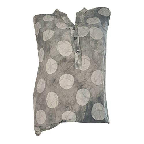 Bringbring Damen Bluse Ärmellose Shirt Knopf Top Wellenpunkt Damenblusen Stehkragen Hemd Tunika Elegant Oberteile -