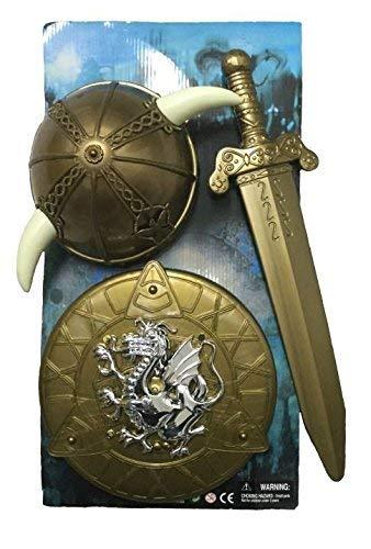 KarnevalsTeufel 3-TLG. Wikinger-Set, Helm Schwert, Schutzschild, Rüstung, Kostümzubehör (Kinder Wikinger Helm)