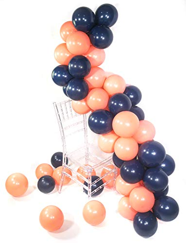 (PuTwo Luftballons, 80 Stück Marineblau Luftballons Luftballons Navy Luftballons Dunkelblau Luftballons Peach Luftballon Pfirsich Ballon Pfirsich für Party Deko, Deko Geburtstag, Dekoration Hochzeit)