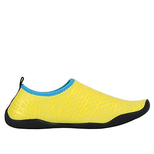 AFFINEST Uomo Donna Passione fuoco flessibile Acqua Sport Pelle Scarpe Aqua calzini unisex di nuoto, corsa, snorkeling, surf, esercizi di yoga Giallo