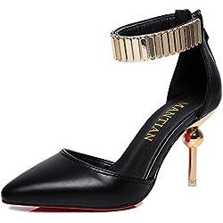 Minetom Damen Mode Pumps Knöchel Gurt Plateau Stilettos Spitz Zehe Schuhe High Heel Sandalen Schwarz EU 38