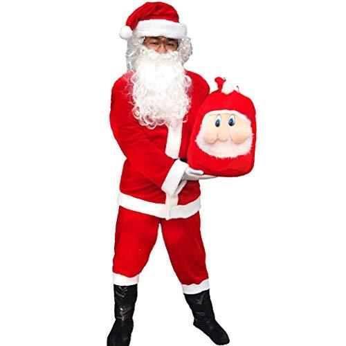 WERT Weihnachten Kostüme Männer Santa Claus Anzug Deluxe Set Weihnachten Outfit Neuheit Festliche Abendkleid-Ausstattungs Adult Cosplay, 7 Piece Sets-XL