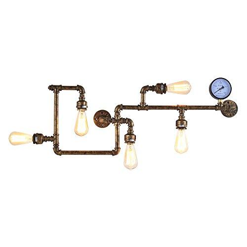 Lonfenner Vintage industrielle kreative Persönlichkeit Restaurant und die Bar Bar Rohr Wand Lampe Eisen Rohr Wall Wandleuchte 900mm (Wandleuchte Kerze Treibholz)