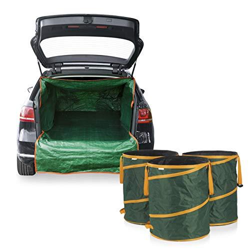 PRIMA GARDEN Gartenabfallsäcke & Kofferraum-Transportsack im Set   3 Gartenabfallsäcke, je 160 l mit Pop-up-Funktion   1 Kofferraumschutz   Ideal für sauberen Abtransport von Laub, Gras & Beschnitt