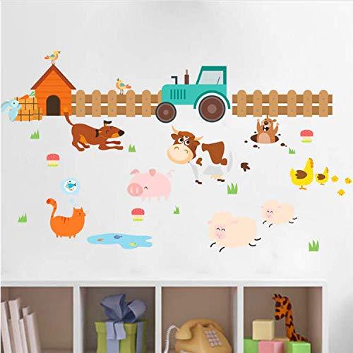 uernhof Hund Katze Schaf Kuh Wandaufkleber Für Kinderzimmer Wohnkultur Cartoon Tiere Wandtattoos Kunst PVC Poster DIY Wandbild 60 * 105 cm ()