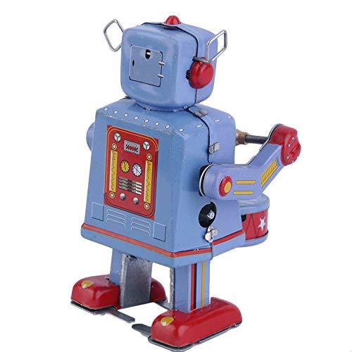 Vintage Metall Zinn Trommeln Roboter Clockwork Wind Up Zinn Spielzeug Sammlerstück Weltweiter - Zinn Wind-up Spielzeug