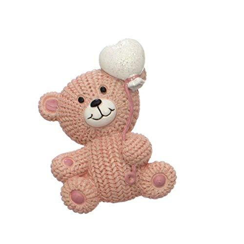 24 pz calamita magnete orsetto rosa con cuore effetto lana bomboniera