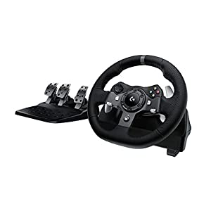 Logitech G920 Driving Force Gaming Rennlenkrad, Zweimotorig Force Feedback, 900° Lenkbereich, Leder-Lenkrad, Verstellbare Edelstahl Bodenpedale, Xbox One/PC/Mac – UK-Stecker, schwarz