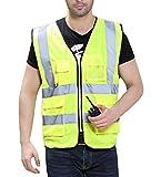 Unisex Hohe Sichtbarkeit Warnweste Sicherheitsweste Reflektierende Weste mit Vier Vornen Taschen Reißverschluss - Fluoreszenz Gelb Größe M