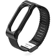 Pour Xiaomi Miband 2, Rubility® Bracelet 2 en Métal Dragonne de Remplacement Pour Xiaomi Smart WristBand 2, Wristband en Acier Inoxydable, Sans Vis (Noir)