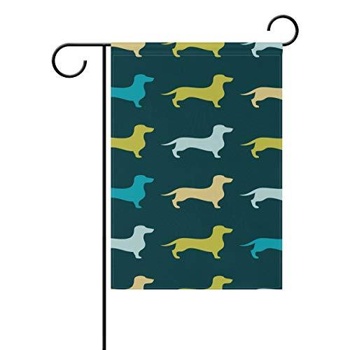 JIRT Garten-Flagge, 30,5 x 45,7 cm, bunt, nahtlos, mit Tier-Dackel, doppelseitig, Polyester Banner für drinnen und draußen, für Rasen und Hof, Dekoration, Image 583, 12x18(in)