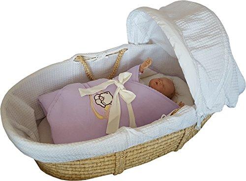 BlueberryShop Jersey Bestickte Wickeldecke Decke Bettdecke für Neugeborene Baby mit Ausgesteifter Rückseite Baumwolle ( 0-3m ) ( 78 x 78 cm ) Violett