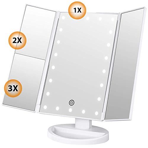 egel Schminkspiegel mit LED Licht und 1X/ 2X/3X-Vergrößerungsspiegel, Kosmetikspiegel mit Beleuchtung mit 22 LED Spiegel 180 Grad Einstellbar Make-up-Spiegel 3 Seiten ()
