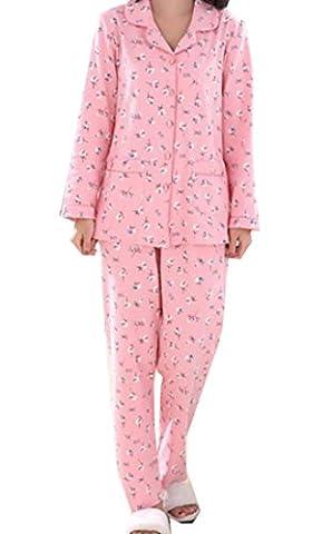 EKU Women's Lapel Print Top Bottom Cotton Comfy Slim Loungewear XL Red