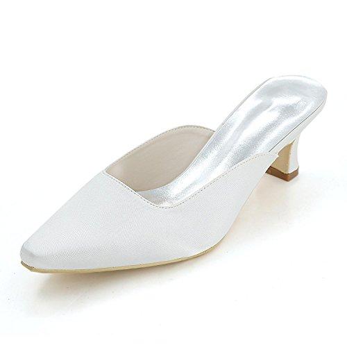 L@YC Pantofole Confortevoli Delle Donne, Quadrato Con Il Punteggio Casuale / Grande Formato ad alto Profilo Di Cerimonia Nuziale Su Ordinazione Bianco