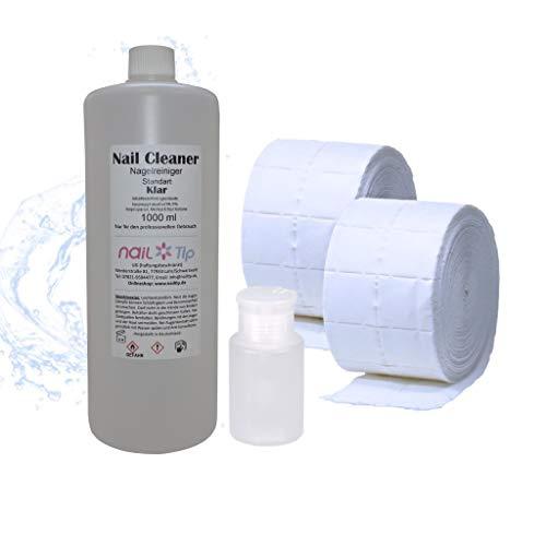 Nail Cleaner   klar   1000ml (99,9% Isopropanol   Alkohol), Zelletten und Dispenser im Sparset (Uv Nail Cleanser)
