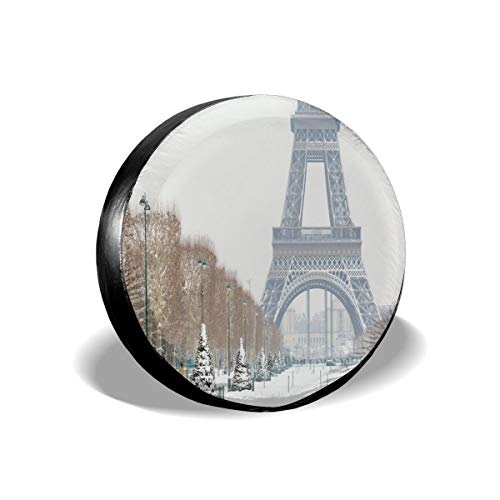 BBABYY Tire Cover Tire Cover Wheel Covers,Eiffel Tower Covered In Snow Outdoors Champ De Mars Tourist Attraction Paris France,for SUV Truck Camper Travel Trailer Accessories 17 inch (Wheels Mars Hot)