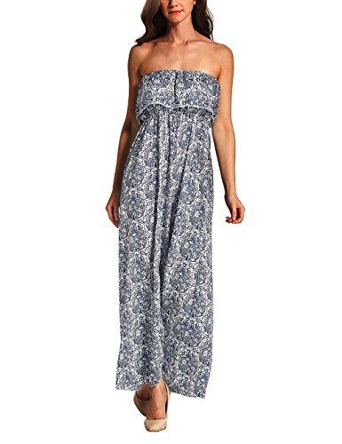 Damen Bohemian Kleid Sommer Maxi Rock Maxilang Kleid Tube Kleid Chiffon Kleider lotus hülse Schnitt Elegant Dünnschnitt Sommerkleid Blau Paisley-Muster Bodenlang Kleider (Maxi-kleid Drucken Chiffon)