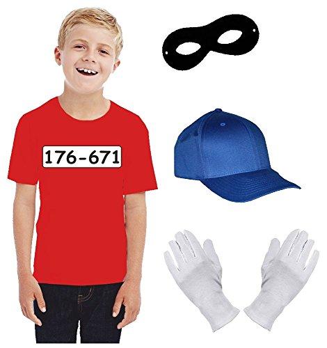Kinder Set GANGSTER BANDE KOSTÜM - FASCHING - KARNEVAL - T-SHIRT, MÜTZE, MASKE + HANDSCHUHE - rot (Mädchen Einbrecher Kostüm)