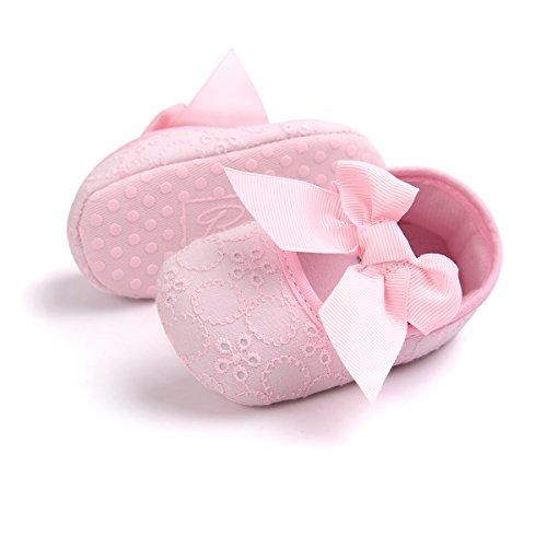 Auxma Neugeborene Baby mädchen Weiche Sole Bowknot Schuhe Weiche Unterseite Blume Prewalker Turnschuhe (11cm/0-6 Monate, Weiß) Rosa