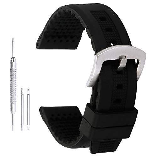 22mm Bracelets-Montres en Silicone Anti-Rayures Bracelets de Montres de Ceinture de Sport en Caoutchouc avec des Trous de Ventilation en Noir