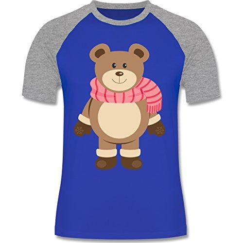 Weihnachten & Silvester - Winter Teddy mit Schal - zweifarbiges Baseballshirt für Männer Royalblau/Grau meliert