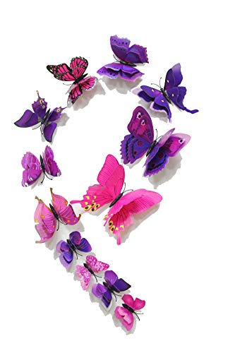 Applique Kunst (FiveRen 12 Stück 3D Schmetterlings Wand Aufkleber, Lebendiger Kühlschrank Magnet Ausgangsdekor Kunst Applique DIY Fertigkeiten Entfernbar für Babys Schlafzimmer Fernsehhintergrund Wohnzimmer, Lila)