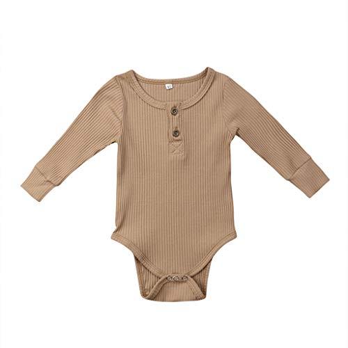 LEXUPE Kleinkind Baby Kinder Mädchen Jungen Langarm Feste Strampler Bodysuit Freizeitkleidung(Khaki,80)