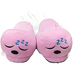 Pink chappal warm open slipper Emoji Slipper Free Size back open Indoor Slipper Funny Soft Plush For Adults Kids Teens Bedroom Smiley Poop Comfy Socks Womens Girls Non-Skid Footpads