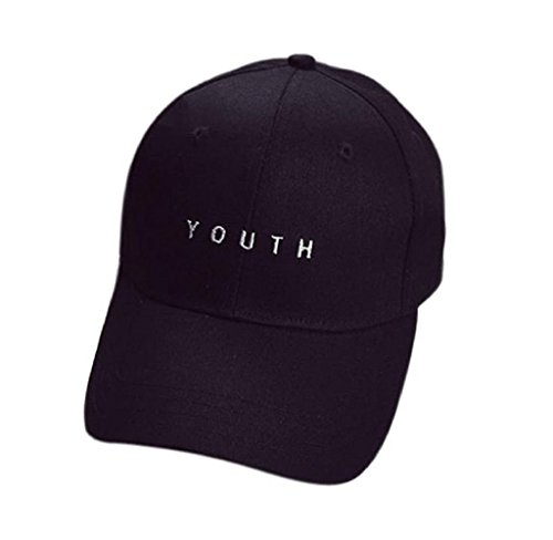 Yistu Mbroidery Baumwoll Cap Boys Girls Snapback Hip Hop Flat Baseballmütze (schwarz) - Baumwolle Müdigkeit Cap