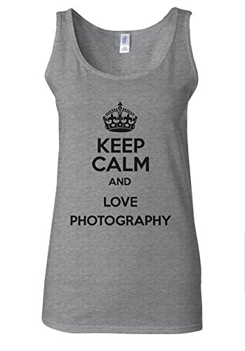 Keep Calm And Love Photography Novelty White Women Vest Tank Top Spotif Gris