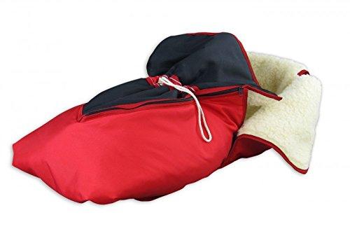 Erst-Holz 24.30-rot Fußsack mit Lammwolle Winterfußsack Schlittensack für Schlitten oder...