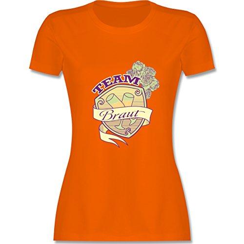 JGA Junggesellinnenabschied Team Braut Schild tailliertes Premium TShirt  mit Rundhalsausschnitt für Damen Orange
