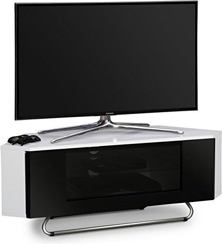 """Centurion Unterstützt Hampshire Corner Freundlich Gloss Weiß mit schwarzem Kontrast Strahl-Thru Fernfreundlich Tür 26 """"-50"""" Flat Screen TV Schrank"""