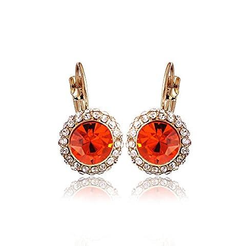 Corée du Sud plaqué or zircon Boucles d'oreilles avec cristal Swarovski pour Femmes et Filles Moon river () en rouge