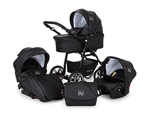 Lux4Kids Kinderwagen Set Babywanne Sportsitz Babyschale Wickeltasche Matratze 3in1 VIP Luxus Made in EU Easy One Schwarz