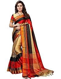 SRETAN Cotton Silk Saree With Blouse Piece