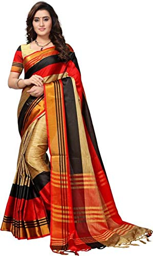 SRETAN Cotton Silk Saree With Blouse Piece (Mahesh-Red_Red Black_Free Size)