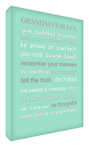 Feel Good Art Gallery Wrapped Box Canvas with Solid Front Panel (30 x 20 x 4 cm, Small, Mint Green, Grandma's Rules)