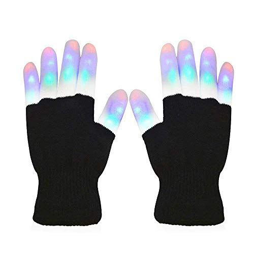 22Cm × 12Cm, LED Bunte Blinkende Fingerbeleuchtung Rave Handschuhe - Halloween Geschenk, 7 Farben Bunte Handschuhe, Schwarz