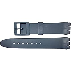 New 17mm (20mm) Sized Resin Strap Compatible for Swatch® Watch - Grey - RG13