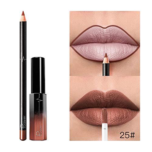 Rouges à lèvres Crayon à lèvres,ITISME-Beauté Set De Cosmétiques De Maquillage De Longue Durée Imperméable Rouge Brillant à Lèvres Liquide Mat Brillant