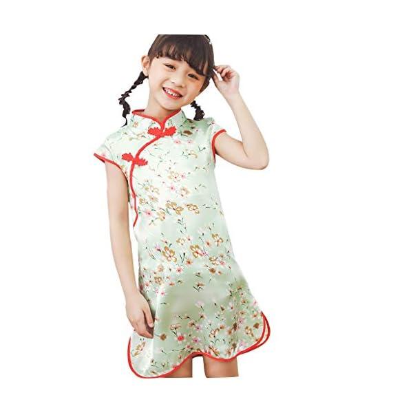 Aini Vestido De Bebé NiñAs Vestido De NiñA Cheongsam Vestido Estampado Estilo Chino para NiñA Vestido Manga Corta Floral… 2