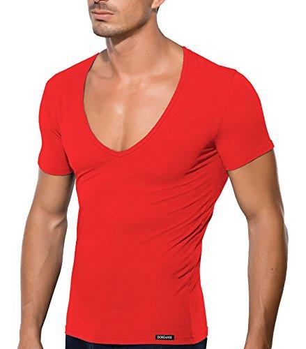 V Ausschnitt V Neck Deep Neck T Shirt Herren von Doreanse Underwear in vielen Farben Baumwolle Rot