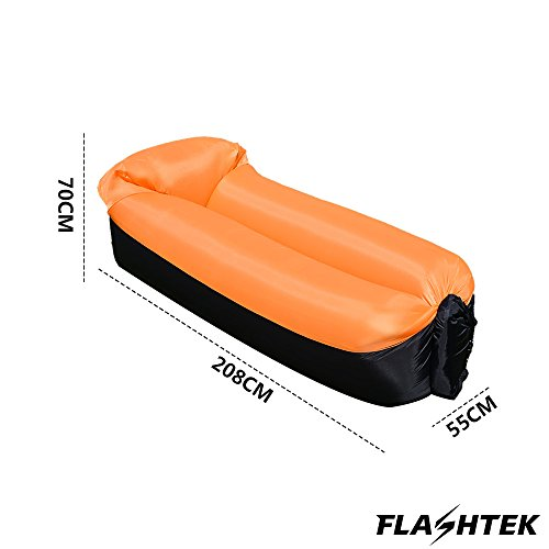 Flashtek Portable Inflatable Sofa, Waterproof Air Sofa Inflatable Lounger, Air Lounger Inflatable Couch, Air Bed Beach Lounger ideal for Travelling, Pool, Beach Party and Camping Equipment … (Orange Sofa with fabric cover )